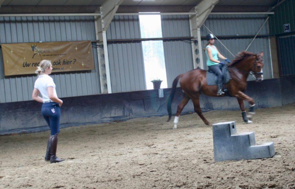 Samantha tijdens een les bij Equinova gericht op het dressuurmatig verbeteren van het paard